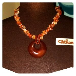 Coral red agate necklace